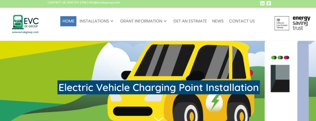 EVC UK Website | Glasgow Web Designer Portfolio