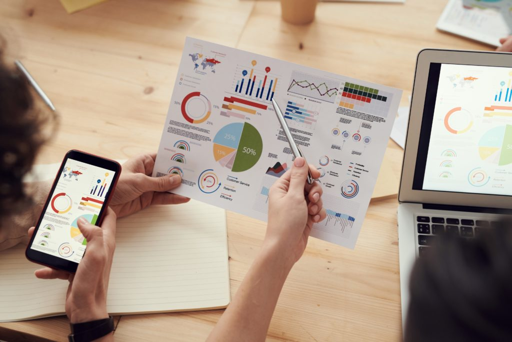 Graphs and Charts showing KPI's for Small Businesses Website